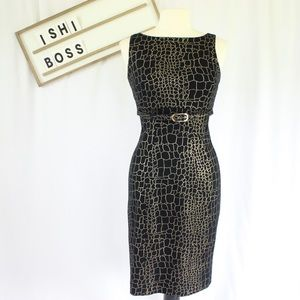 Cache Reptile Print Dress with Belt
